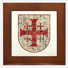 Jerusalem Cross, Distressed Framed Tile