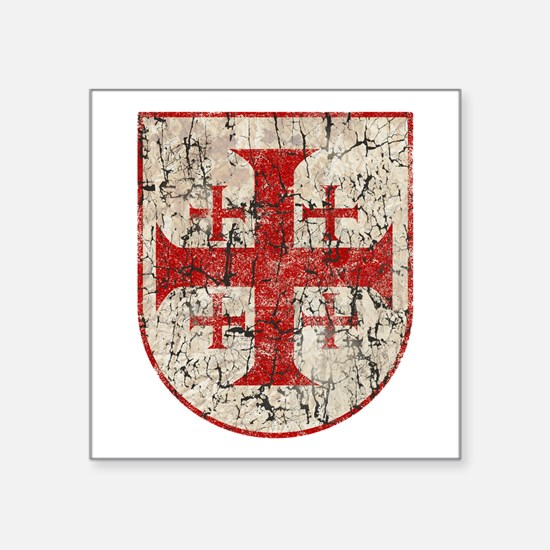"Jerusalem Cross, Distressed Square Sticker 3"" x 3"""