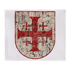 Jerusalem Cross, Distressed Throw Blanket
