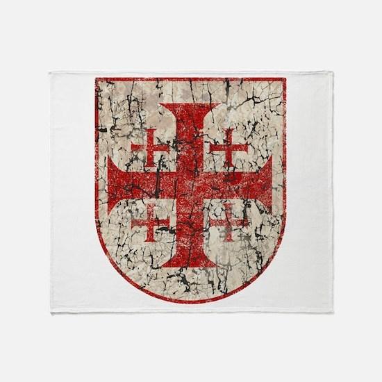 Jerusalem Cross, Distressed Throw Blanket