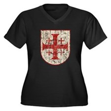 Jerusalem Cr Women's Plus Size V-Neck Dark T-Shirt