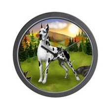 Harlequin Great Dane Dog Wall Clock