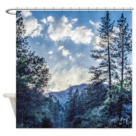 blue mountain evening shower curtain