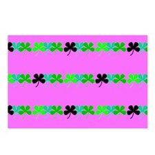 Pink Green Irish 4 Leaf C Postcards (Package of 8)