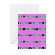 Pink Green Irish 4 Leaf Clovers Leo Greeting Cards