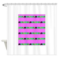 Pink Green Irish 4 Leaf Clovers Leo Shower Curtain