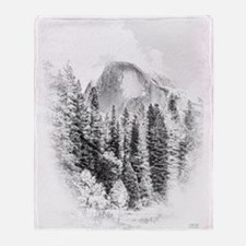 Wintry Mountain Portrait Throw Blanket