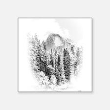 "Wintry Mountain Portrait Square Sticker 3"" x 3"""