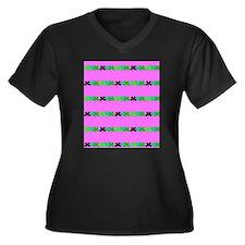 Pink Green Ir Plus Size T-Shirt