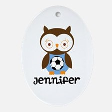 Personalized Soccer Owl Ornament (Oval)