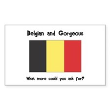 Belgian and Gorgeous Rectangle Decal
