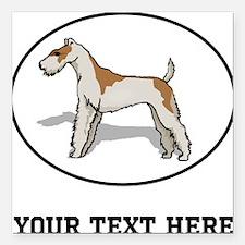 "Custom Wire Fox Terrier Square Car Magnet 3"" x 3"""