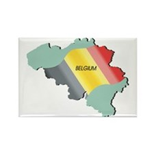 Belgium Flag and Country Rectangle Magnet