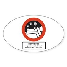 Joint Smoking Forbidden w/text (NL) Oval Decal