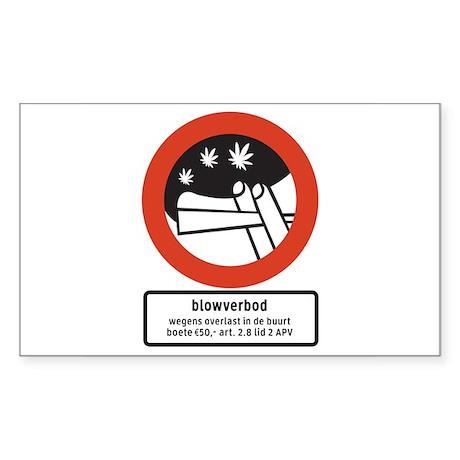 Joint Smoking Forbidden w/text (NL) Sticker (Recta