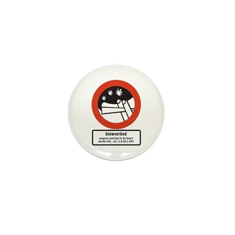 Joint Smoking Forbidden w/text (NL) Mini Button (1