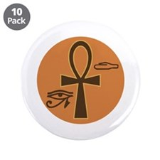 "Ankh Hieroglyphic 3.5"" Button (10 pack)"