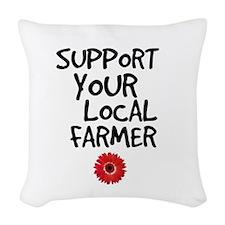 Support Local Farmer Woven Throw Pillow