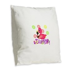 Glamping Flamingo Burlap Throw Pillow