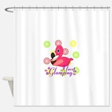 Glamping Flamingo Shower Curtain