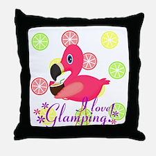 Glamping Flamingo Throw Pillow
