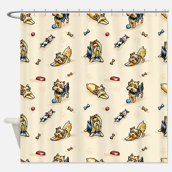 Yorkie World Blush Shower Curtain