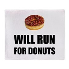 Will Run For Donuts Throw Blanket