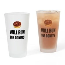 Will Run For Donuts Drinking Glass
