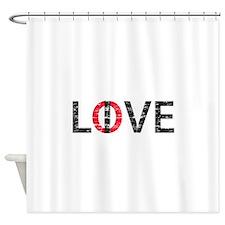 Live Love White Shower Curtain