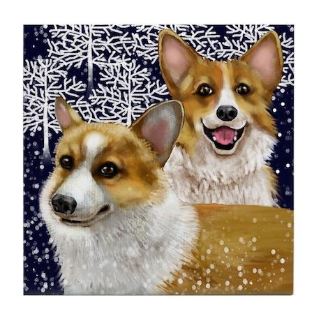 WELSH CORGI DOGS SNOW Tile Coaster