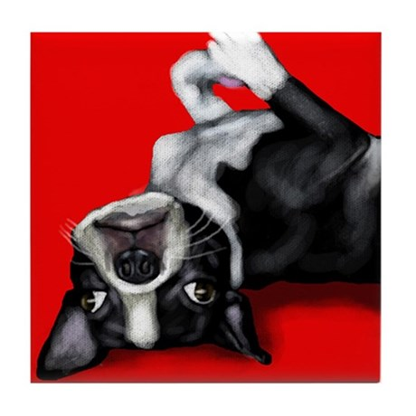 BOSTON TERRIER DOG portrait Tile Coaster