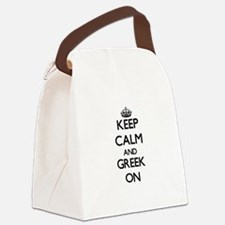 Keep Calm and Greek ON Canvas Lunch Bag