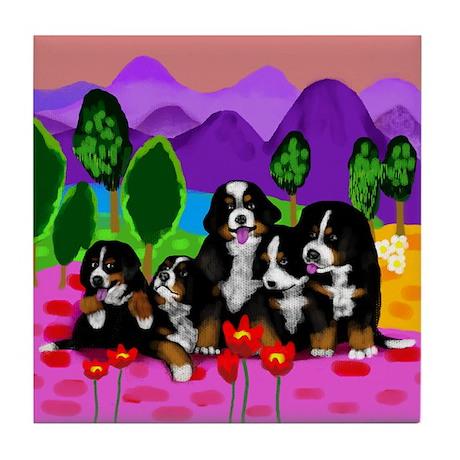 5 BERNESE MOUNTAIN DOGS Tile Coaster Tile Coaster