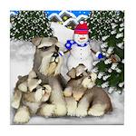 SCHNAUZER dogs CHRISTMAS Tile Coaster