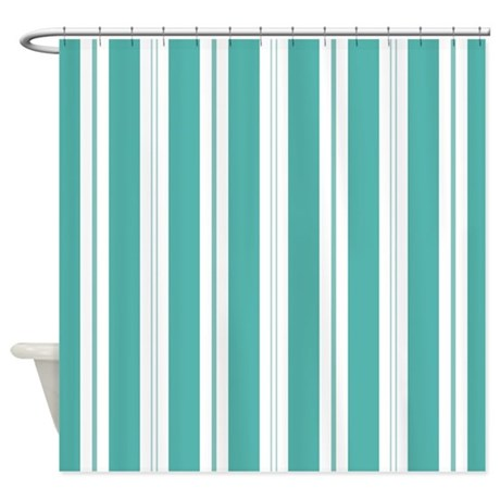 Striped Teal And White Shower Curtain By Mainstreethomewares2