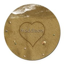Maddison Beach Love Round Car Magnet
