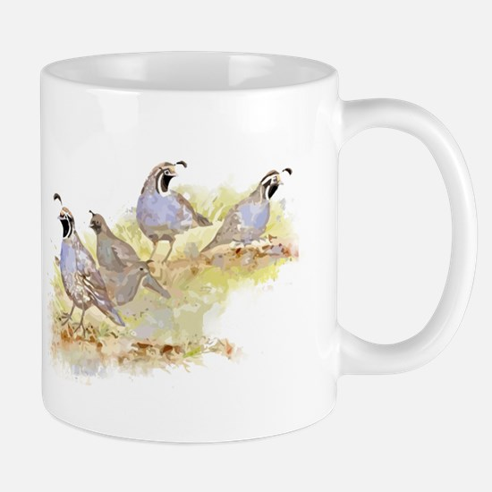 Covey of California Quail Birds Mugs