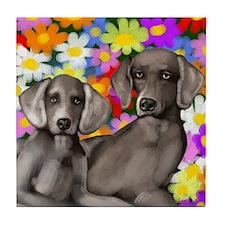 WEIMARANER DOG PAIR Tile Coaster
