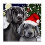 WEIMARANER DOGS CHRISTMAS Tile Coaster