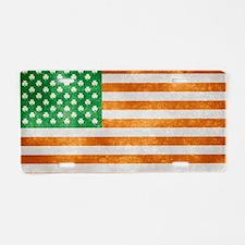 Irish American Flag Aluminum License Plate