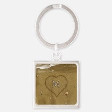 M Beach Love Square Keychain