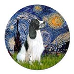 Starry - English Springer7 Round Car Magnet