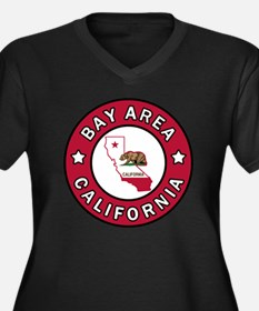 Bay Area Women's Plus Size V-Neck Dark T-Shirt
