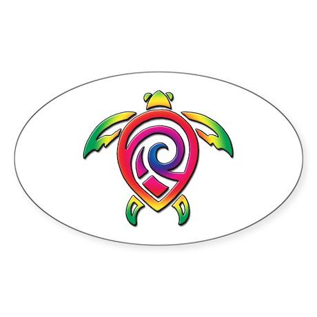 Rainbow Sea Turtle Sticker (Oval)