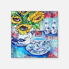 """Blue Danube Suflowers Square Sticker 3"""" x 3"""""""