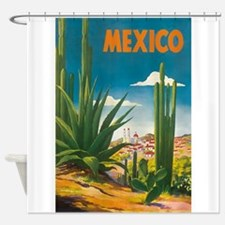 Mexico, Cactus, Vintage Travel Shower Curtain