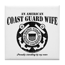 An American Coastie Wife Tile Coaster