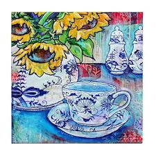Blue Danube & Sunflowers Tile Coaster