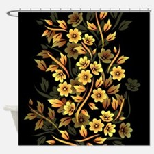 Black and Gold Floral Shower Curtain