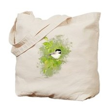 Cute Chickadee Bird in Poplar Tree Tote Bag